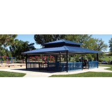 Four Side Shelter Double Tier TG Deck 29 ga Metal Roof Square 28 foot