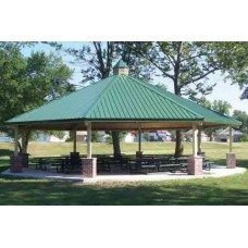20 foot Single Tier Octagon Shelter All Steel 24-ga Precut Metal Roof