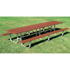 10 Foot Picnic Table Ex Heavy Duty Shelter Table 3 Leg Redwood Stain